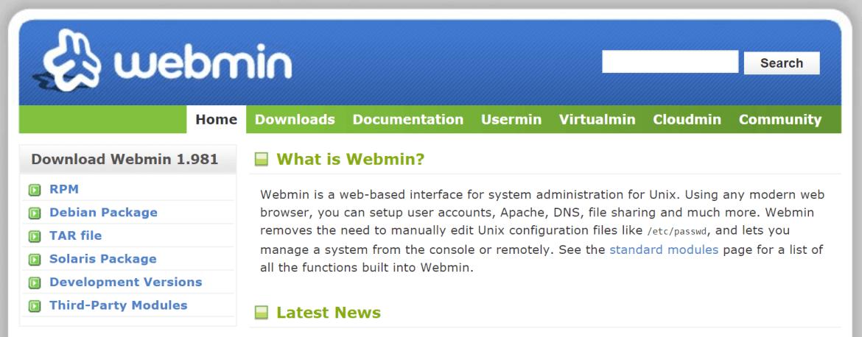 cPanel vs Plesk vs Webmin and the Webmin control panel.