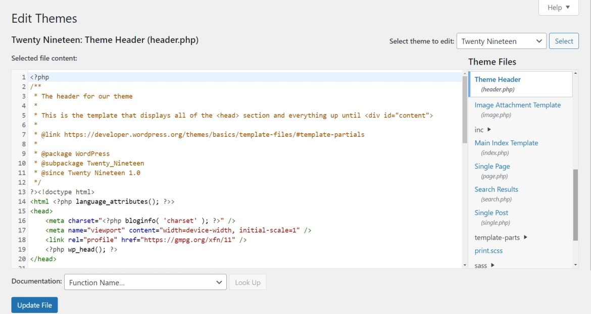 A view of the header section of a theme, which can be customized to decrease the odds of a cumulative layout shift.