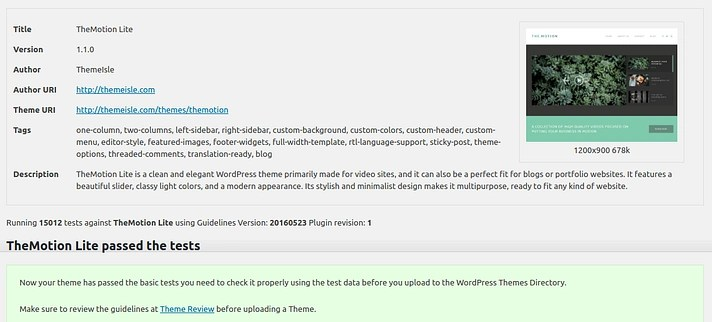 How to choose a WordPress theme: Theme Check results