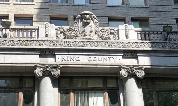 Photo of the main entrance to the King County Courthouse, location of the main branch of the KCLL.