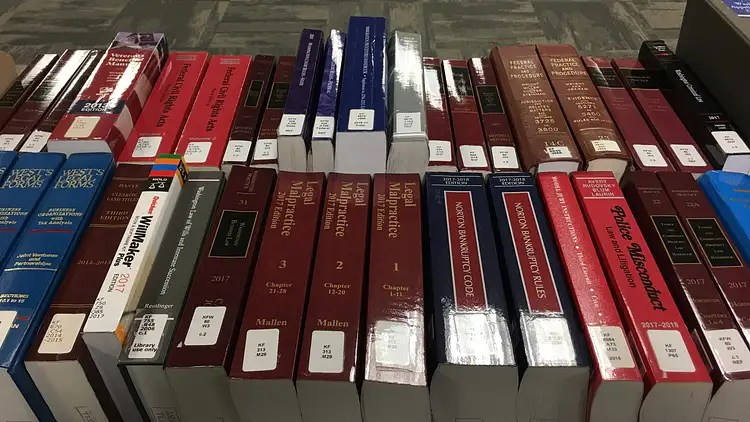 Photo of law books for sale through the King County Law Library.