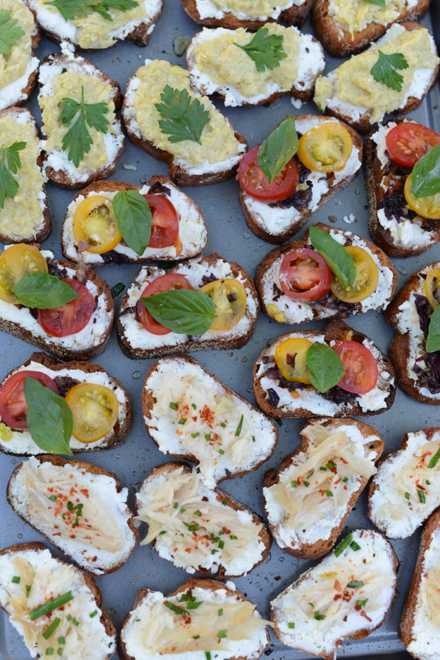 three kinds of crostini, appetizer, M Loves M
