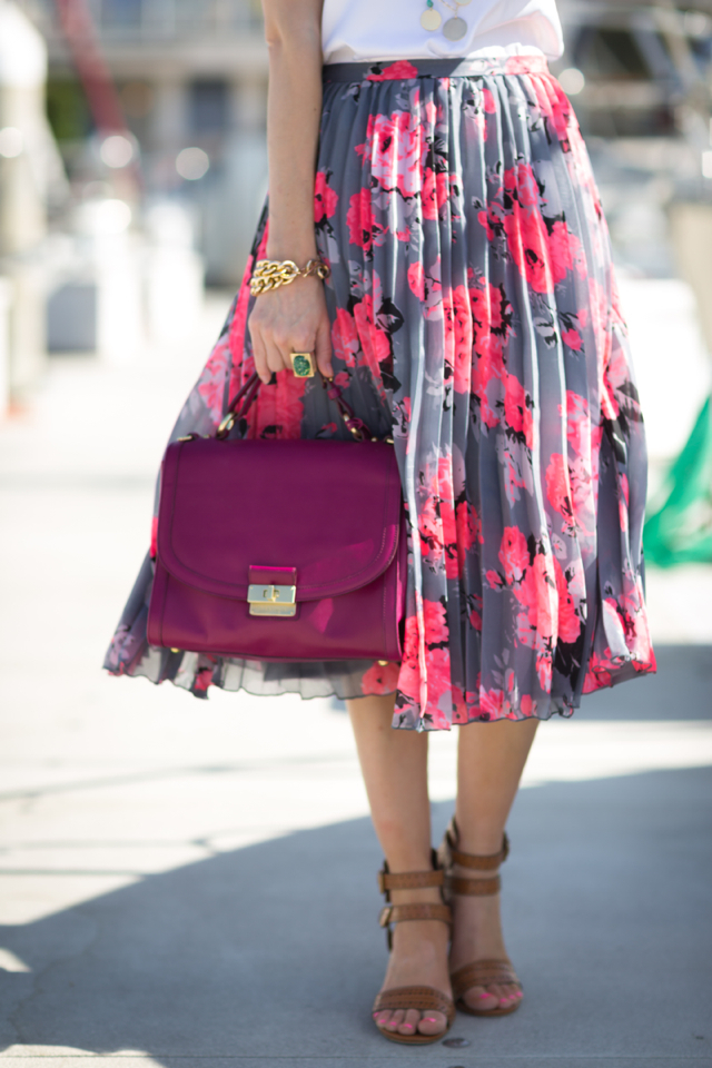 floral skirt, brown sandals, Brahmin bag, M Loves M