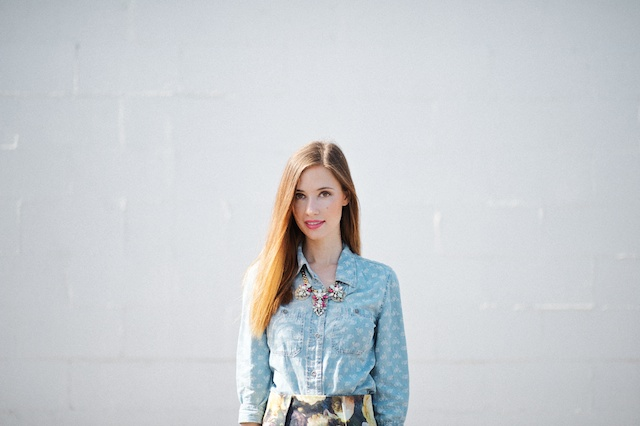 floral chambray top, M Loves M