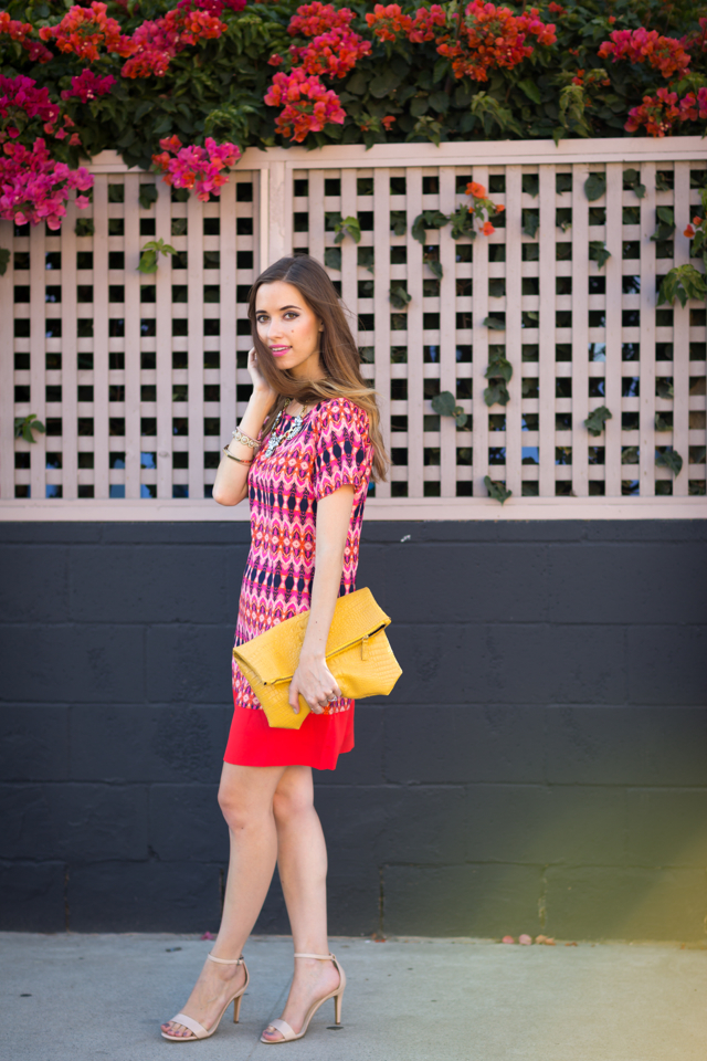 printed shift dress from Nordstrom with nude sandals via M Loves M {click through for more photos and product info}