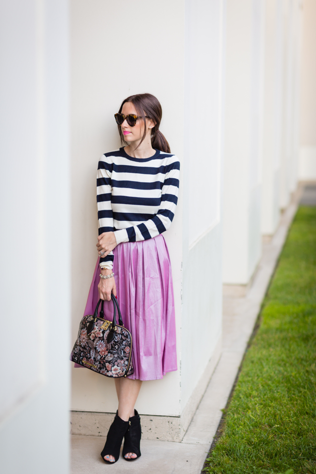striped top with pink full midi skirt via M Loves M @marmar