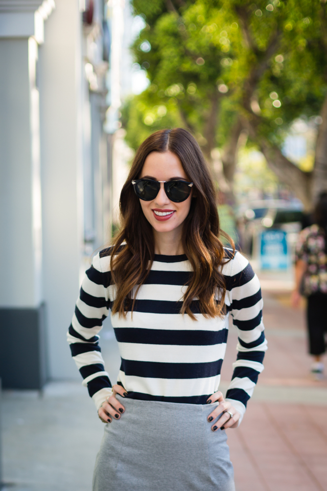 striped sweater on M Loves M with Karen Walker Harvest sunglasses in black @marmar