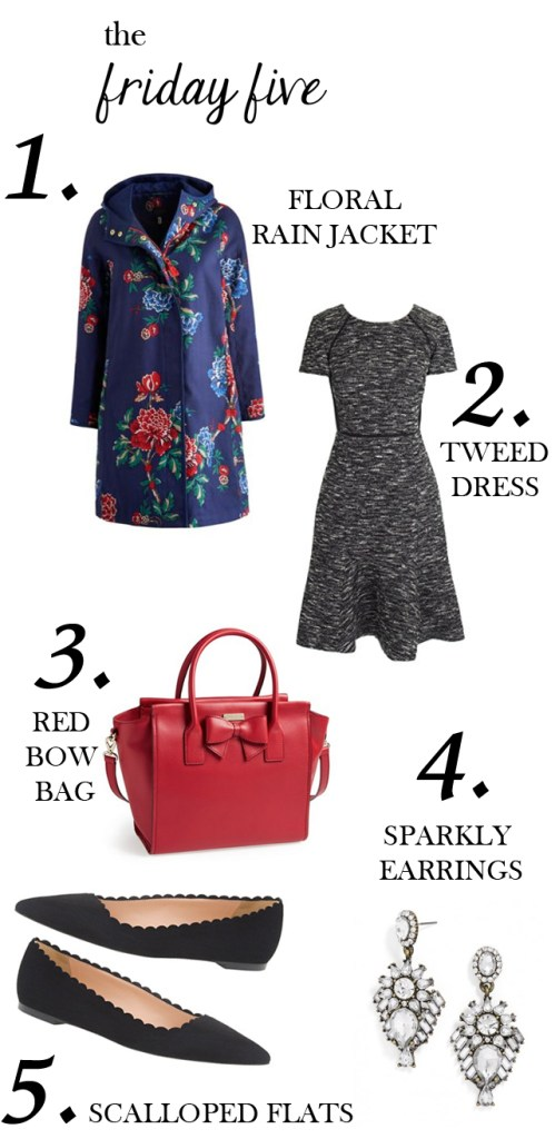 the friday five with joules rain jacket, J.Crew tweed dress, Kate Spade Hanover Satchel, Scalloped Suede Flats and Crystal Drop Earrings via M Loves M @marmar