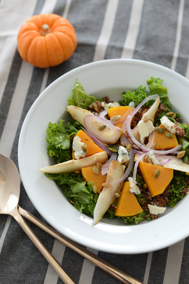 kale salad with quinoa, butternut squash and blue cheese via M Loves M @marmar