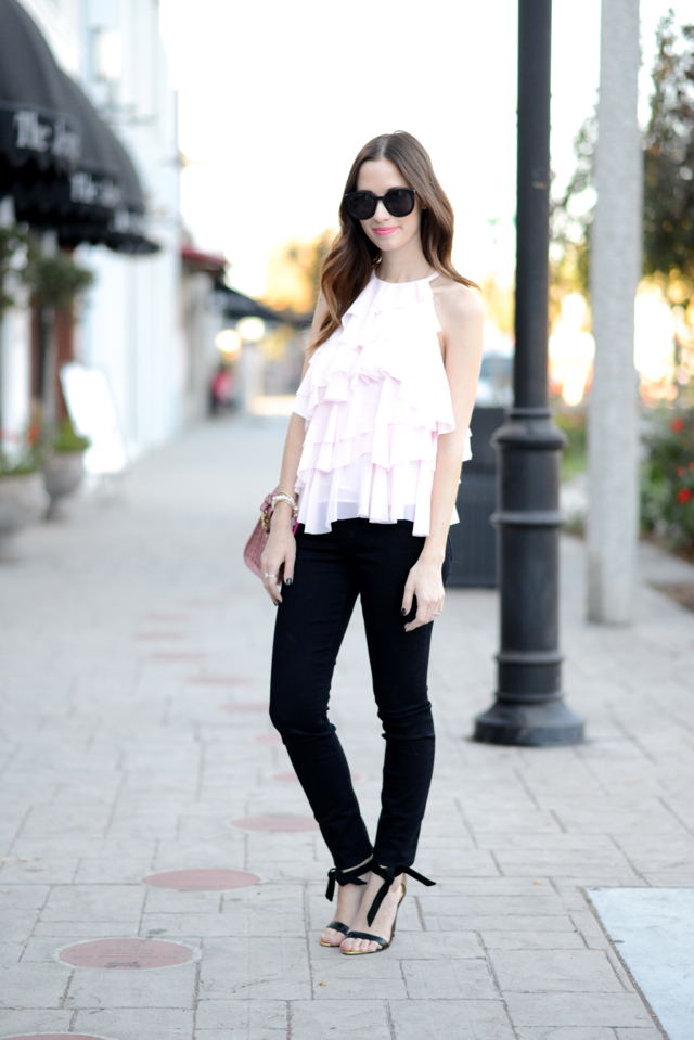 french connection ruffled blouse with black jeans via M Loves M @marmar