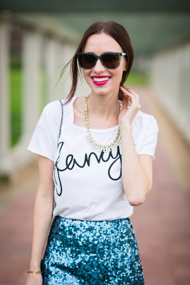 fancy tee with rhinestone bib necklace on M Loves M @marmar