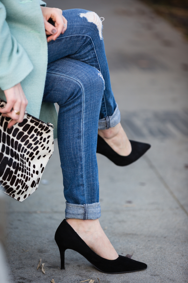 distressed jeans and black suede heels via M Loves M @marmar