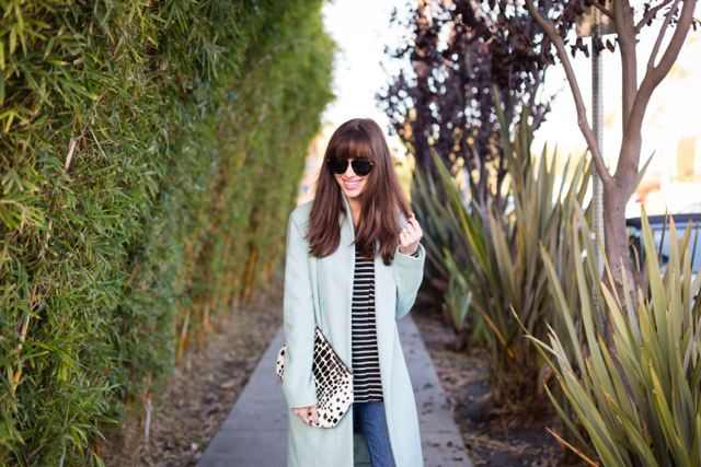 light blue mint coat with striped top and distressed jeans via M Loves M @marmar