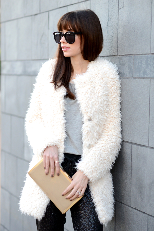 white fluffy coat and sequin pants via M Loves M @marmar