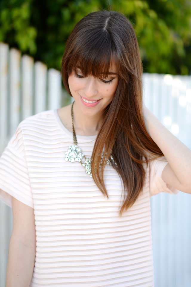 loren hope necklace and pink J.Crew dress M Loves M @marmar
