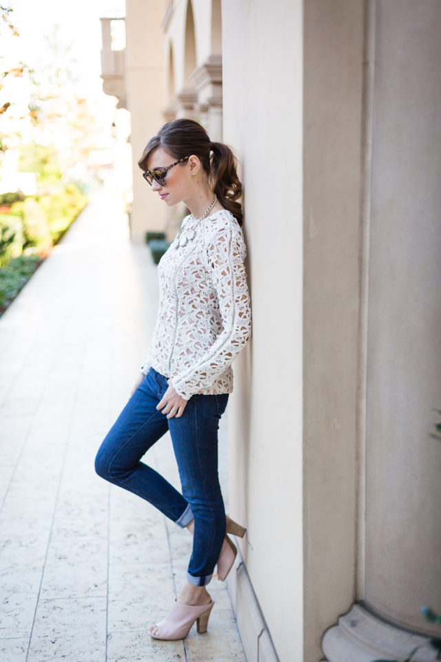 lace top with skinny jeans and pink shoes M Loves M @marmar