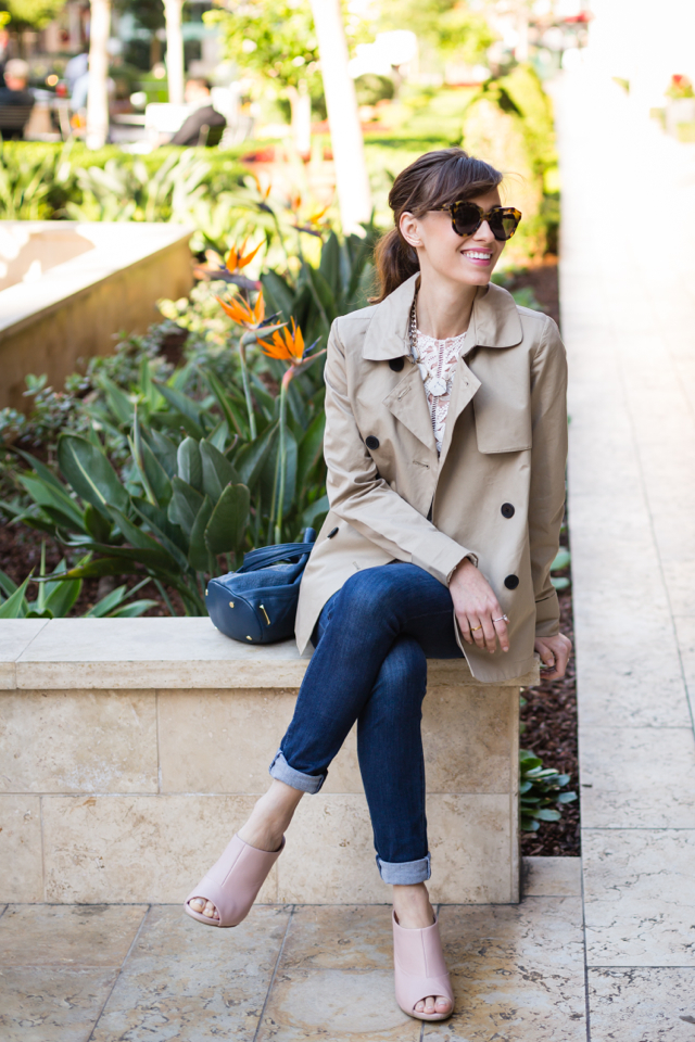 trench coat and jeans feminine outfit M Loves M @marmar