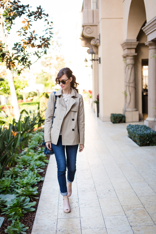 trench coat with lace top, ag jeans, and seychelles propagana pink mules M Loves M @marmar