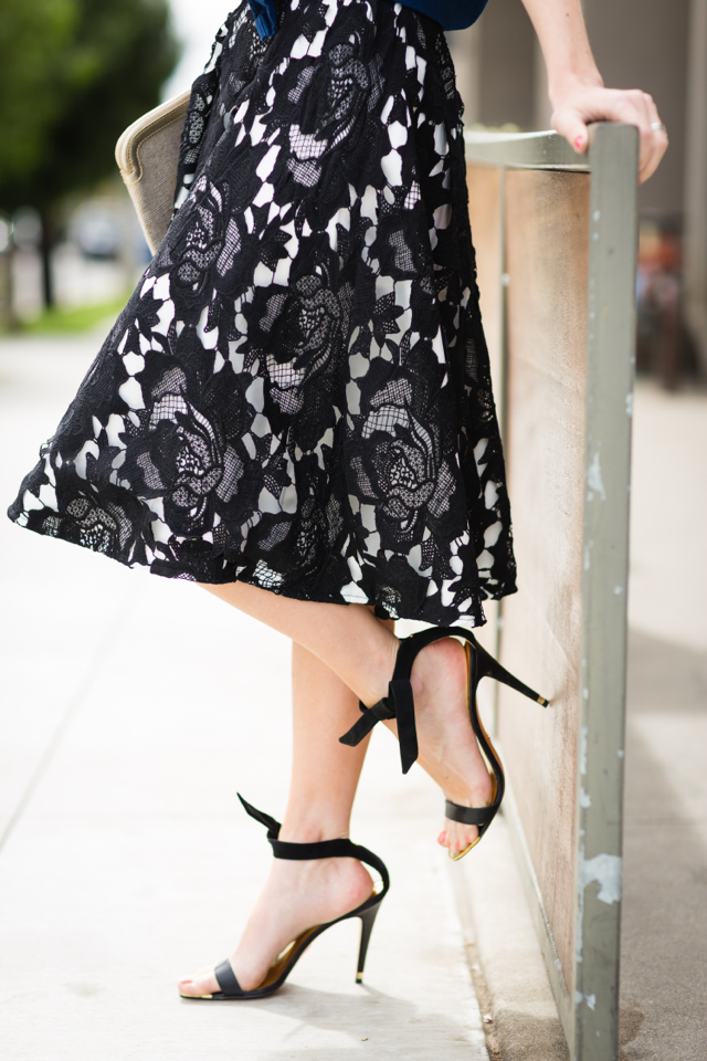 black embroidered midi skirt and ted baker black tie sandals @marmar
