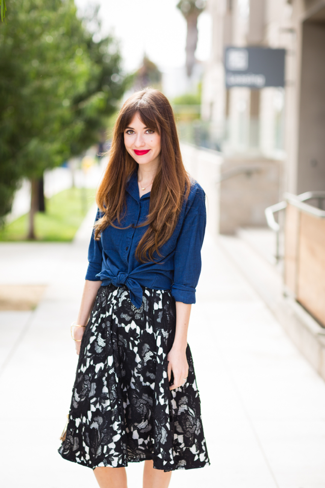 chambray button up and midi skirt M Loves M @marmar