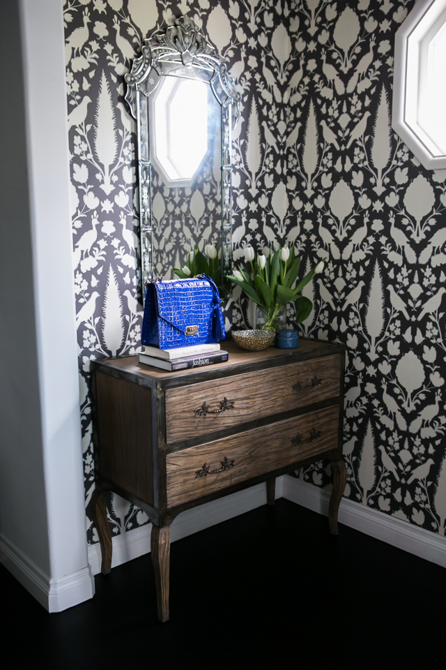 M Loves M Home Tour wallpapered entryway room @marmar