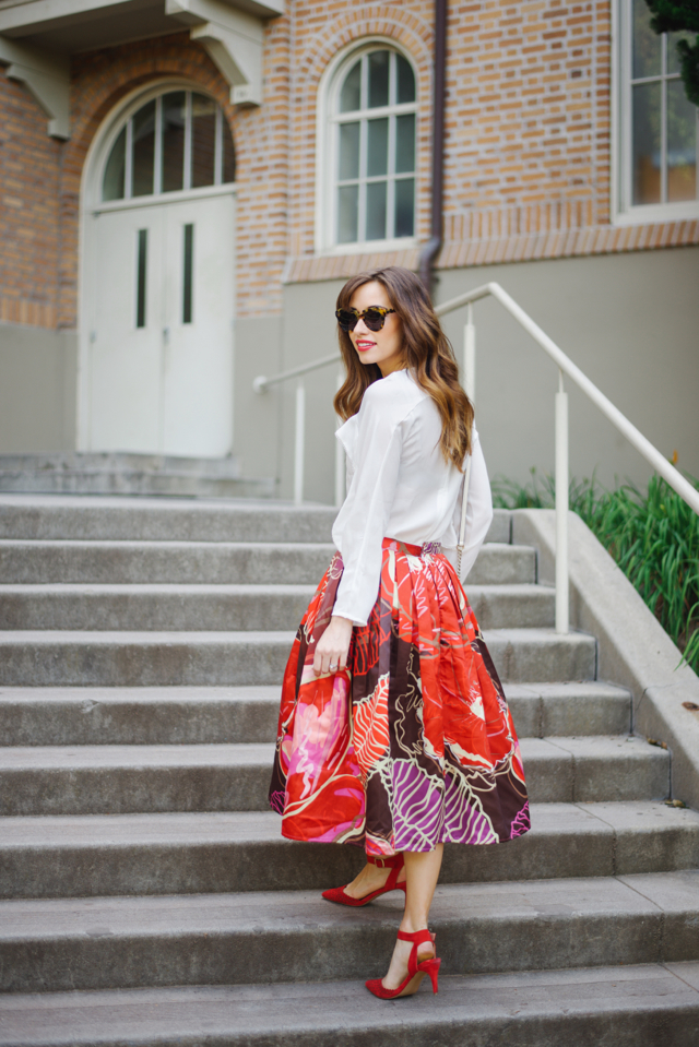 white blouse with bright floral print skirt and red heels on M Loves M Los Angeles blogger @marmar