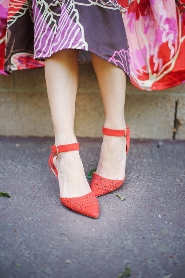 red and pink floral midi skirt with red sole society emma heels M Loves M @marmar