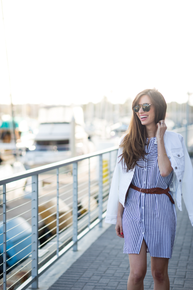 easy summer outfit belted striped shirtdress M Loves M @marmar