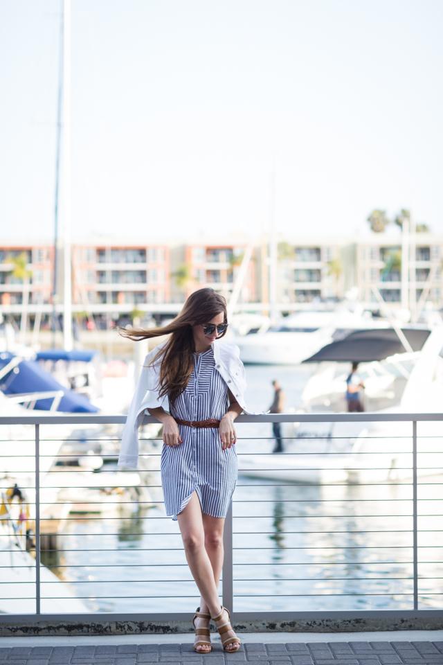 belted striped shirtdress and white denim jacket M Loves M @marmar
