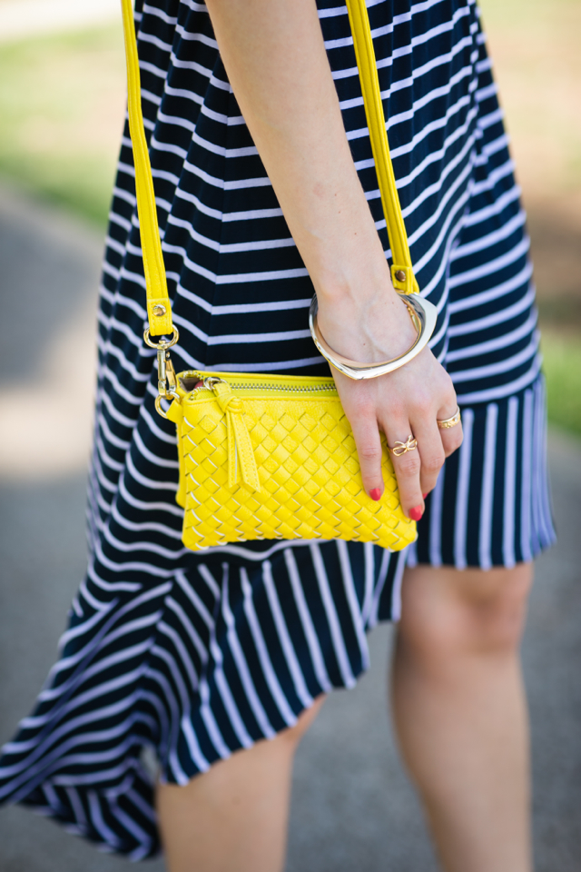 blue and white stripes with yellow bag M Loves M @marmar