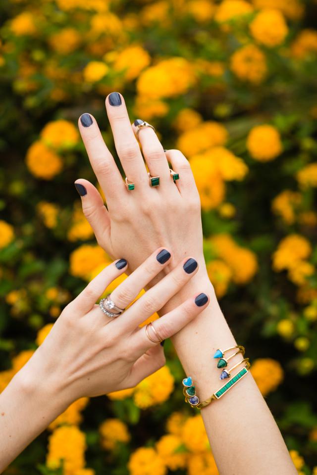 feminine jewelry and dark nails M Loves M @marmar