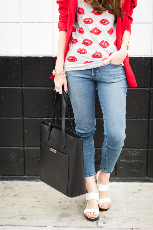 j.crew kiss lip print tee with cropped jeans and striped wedges M Loves M @marmar