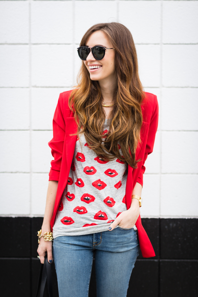red blazer with lip print tee M Loves M @marmar