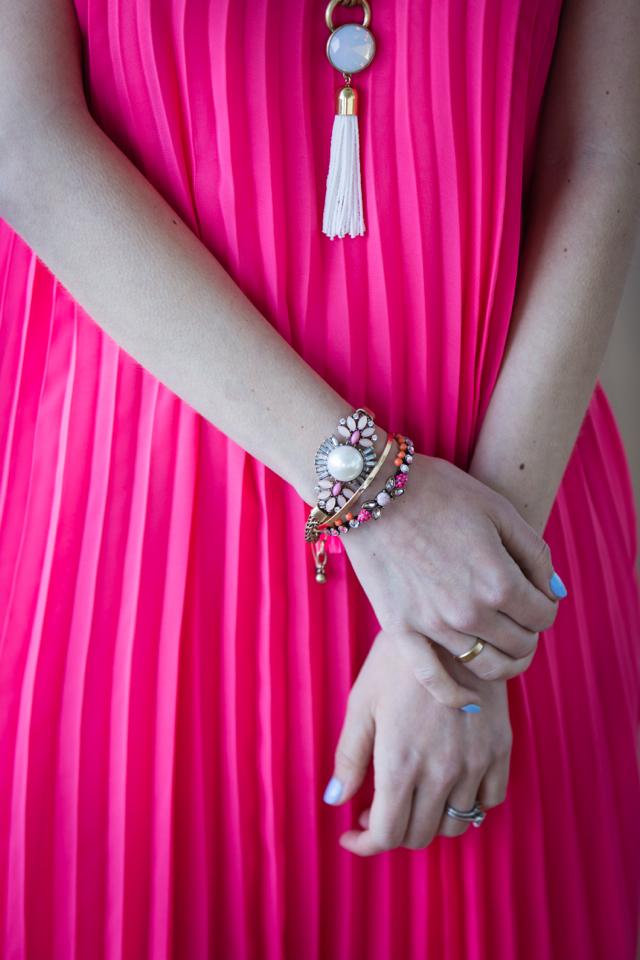 pleated pink maxi dress M Loves M @marmar