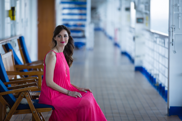 pink pleated maxi dress on Ruby Princess M Loves M @Marmar