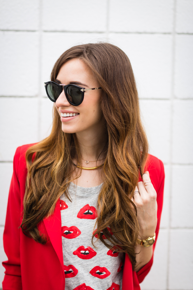 lip print tee with red blazer M Loves M @marmar