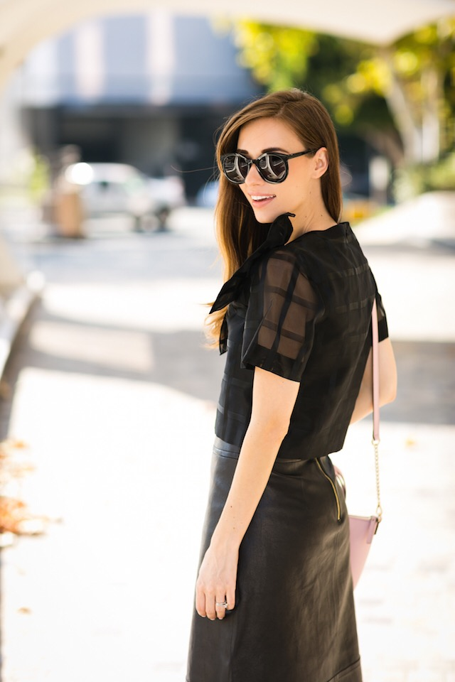 black sheer plaid top with black leather skirt M Loves M @marmar