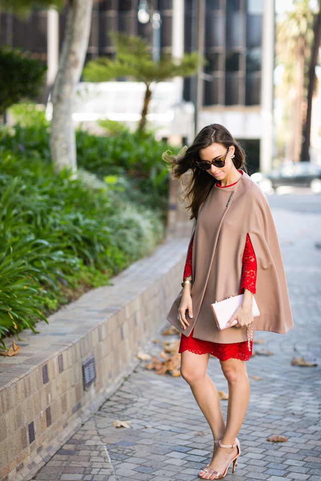 red lace dress with brown cape M Loves M @marmar