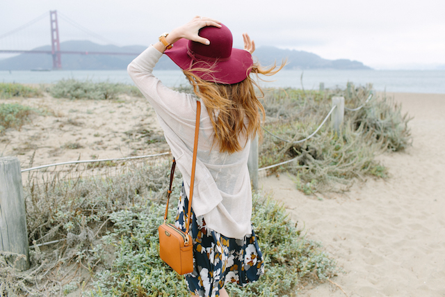 burgundy hat with floral dress at Golden Gate Bridge M Loves M @marmar