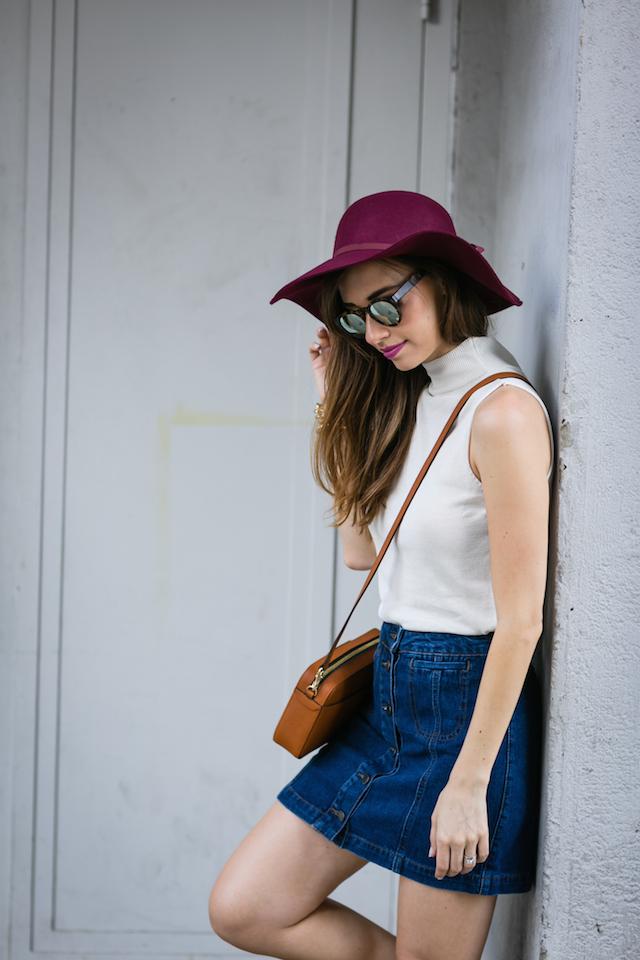 white mock turtleneck with denim mini skirt M Loves M @marmar