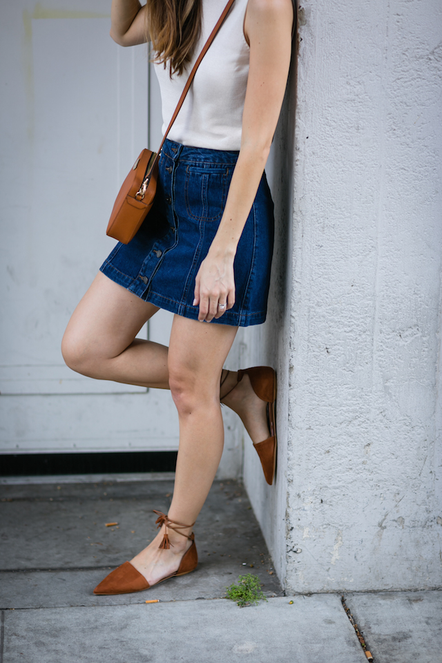 white sleeveless top with a-line denim skirt and brown flats M Loves M @marmar