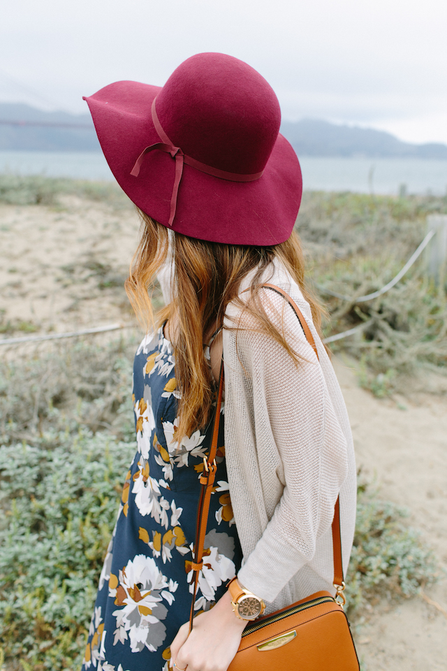 fall outfit with burgundy floppy hat and dress and cardigan M Loves M @marmar