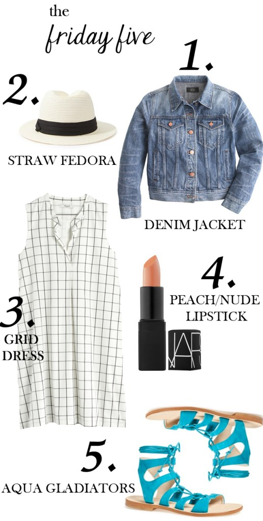The Friday Five with grid dress, aqua gladiator sandals, straw fedora and nars lipstick M Loves M @marmar