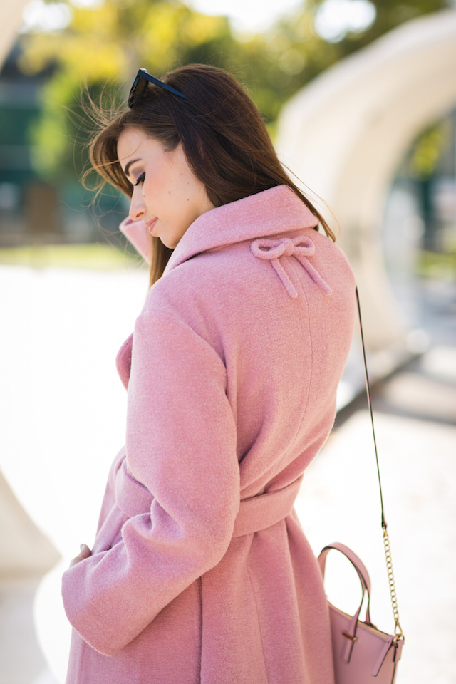 pink coat with bow detail on back M Loves M @marmar