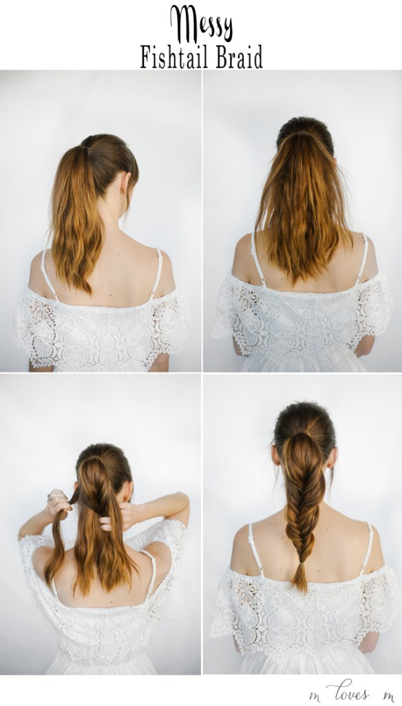 hair tutorial for messy fishtail braid. great for a beach or pool hairstyle. M Loves M @marmar