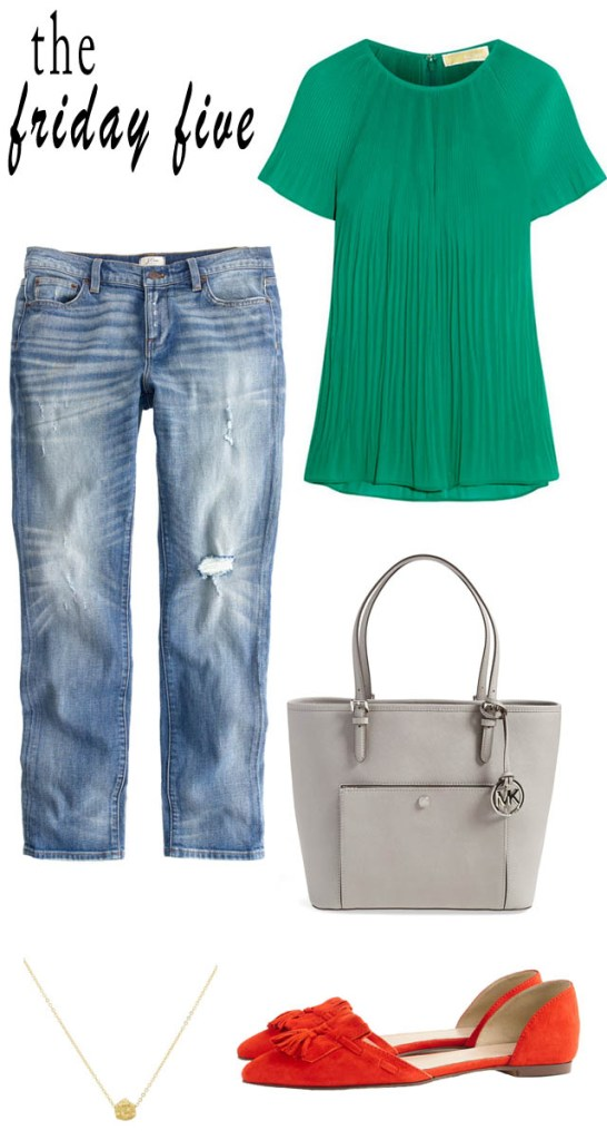 the friday five green pleated top, jeans, tassel flats, gold rush necklace, gray bag M Loves M @marmar