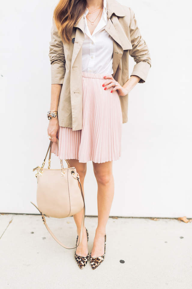 trench coat, white button up, and skirt with leopard heels M Loves M @marmar
