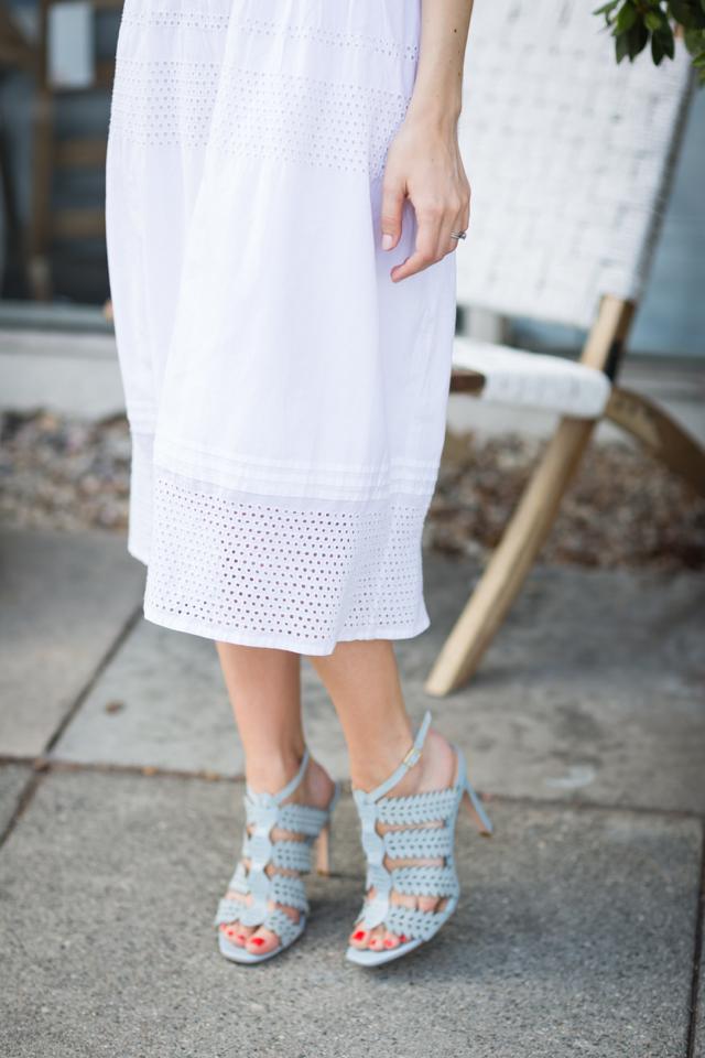 white eyelet skrit with light blue sandal heels M Loves M @marmar