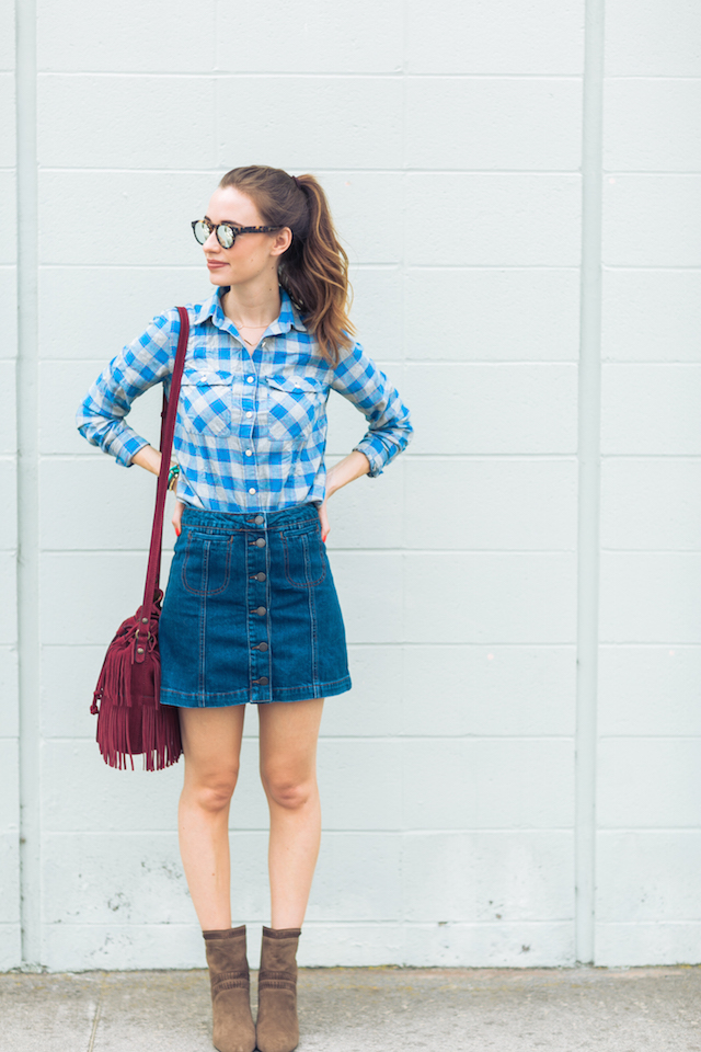 plaid shirt with denim mini skirt M Loves M @marmar