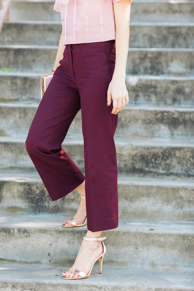 burgundy cropped wide leg pants M Loves M @marmar